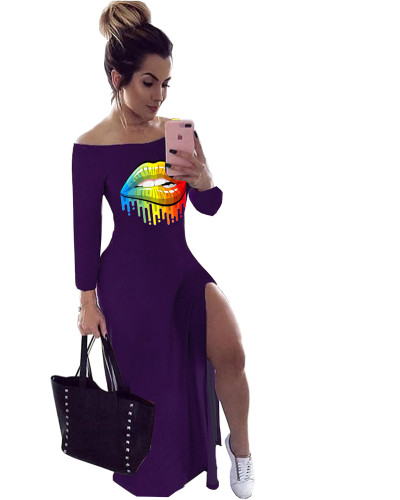 Purple Personalized casual single slit printed dress