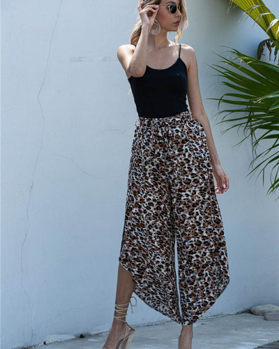 Coffee Casual net red loose wide-leg trousers