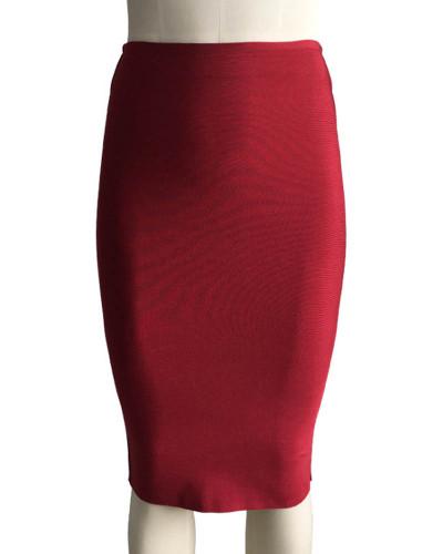 Dark Red Solid color skirt slim sexy bandage hip skirt