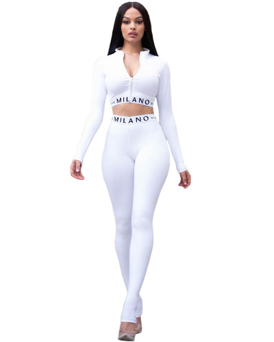 White Solid color skinny long sleeve two-piece suit