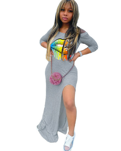 Gray Personalized casual single slit printed dress