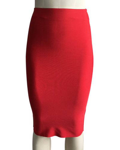Red Solid color skirt slim sexy bandage hip skirt