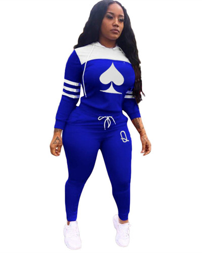 Blue Cute casual sports stitching printing long two-piece suit