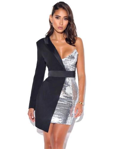 Black Sequined One Shoulder Long Sleeve Dress