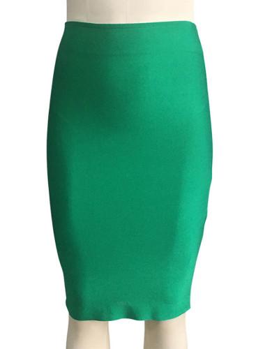 Dark green Solid color skirt slim sexy bandage hip skirt