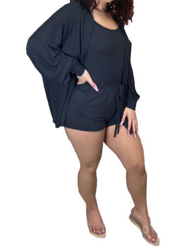 Black Two-piece leisure pit strip fabric