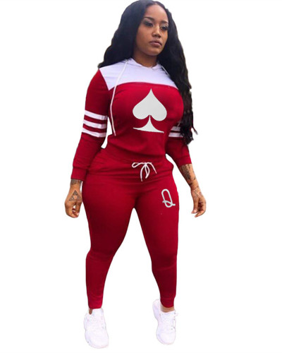 Red Cute casual sports stitching printing long two-piece suit