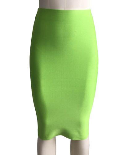 Light green Solid color skirt slim sexy bandage hip skirt