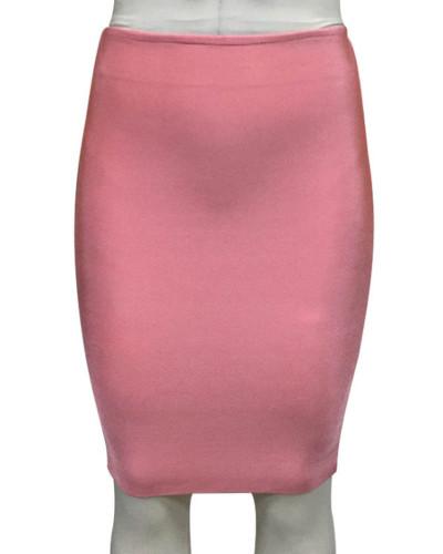 Pink Solid color skirt slim sexy bandage hip skirt