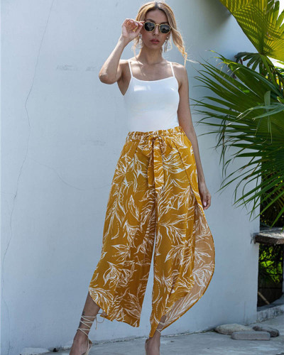 Yellow Casual net red loose wide-leg trousers