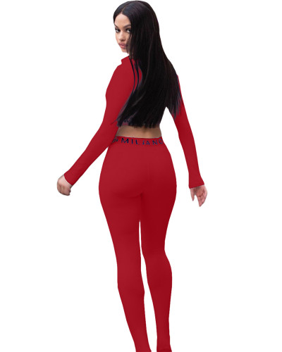 Red Solid color skinny long sleeve two-piece suit