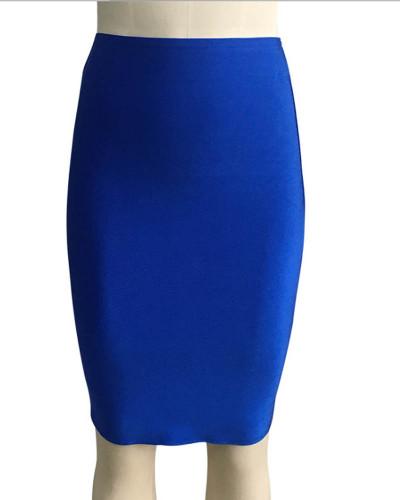 Bule Solid color skirt slim sexy bandage hip skirt