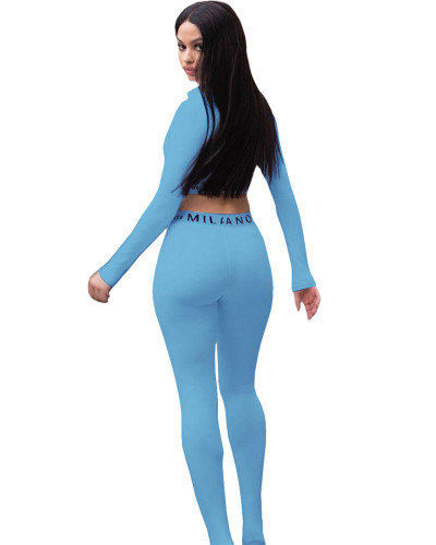 Blue Solid color skinny long sleeve two-piece suit
