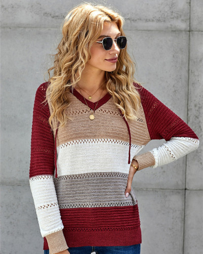 Red Patchwork long sleeve top