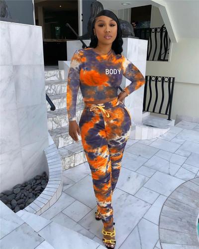 Orange Tie-dye printed pleated sweatshirt fabric sports suit