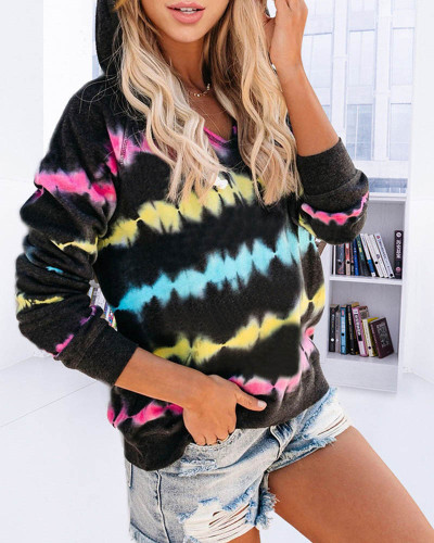 Black Tie-dye hooded sweater loose gradient color long-sleeved top