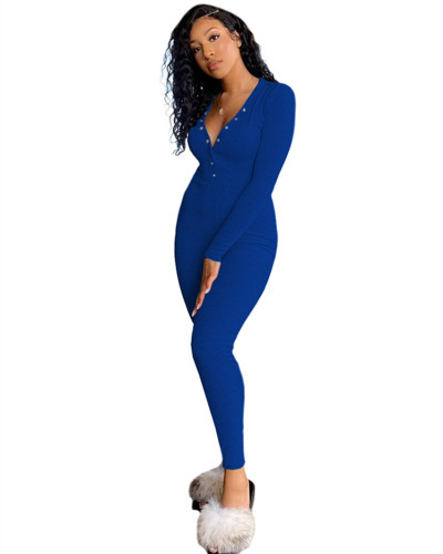 Blue V-neck jumpsuit