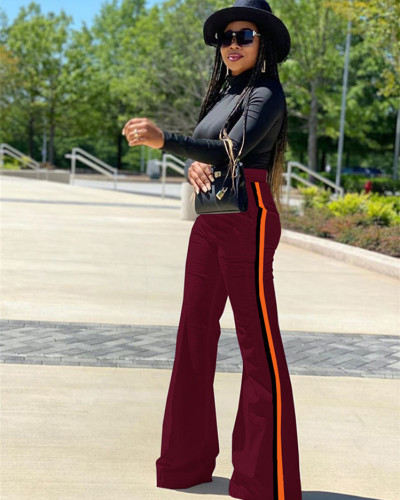 Dark Red Patchwork solid color casual pants