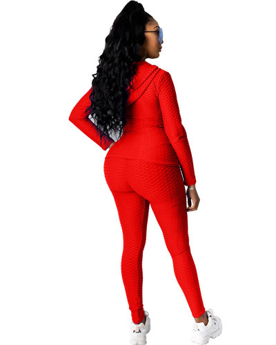 Red Hooded zipper sweatshirt and leggings two-piece sports suit