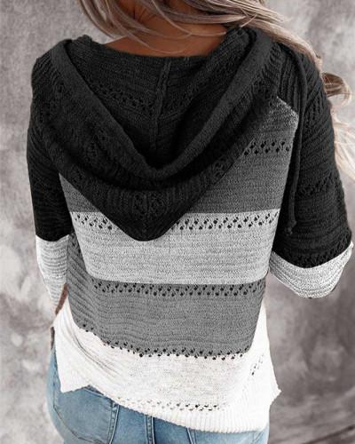 Black Patchwork long sleeve top