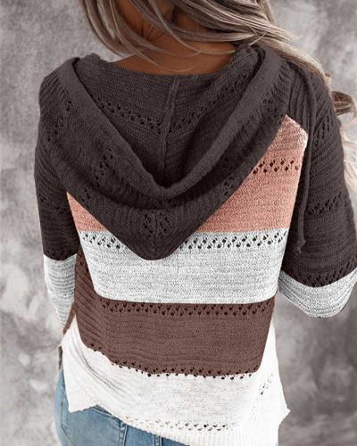 Brown Patchwork long sleeve top