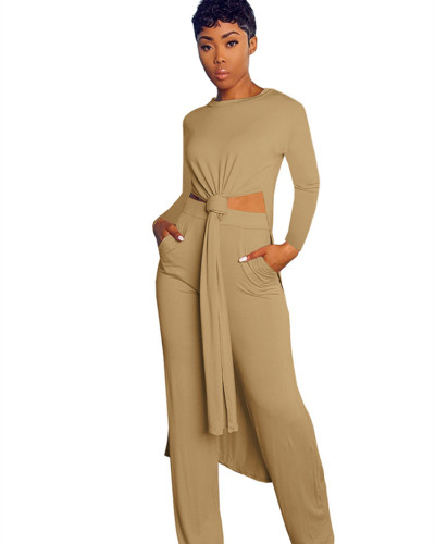 Khaki Two-piece sports suit