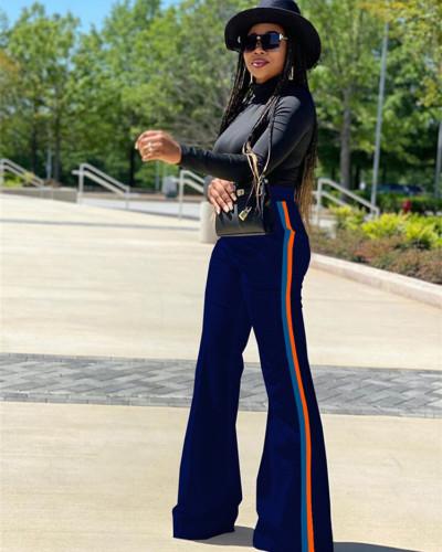 Blue Patchwork solid color casual pants