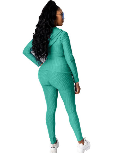 Cyan-blue Hooded zipper sweatshirt and leggings two-piece sports suit