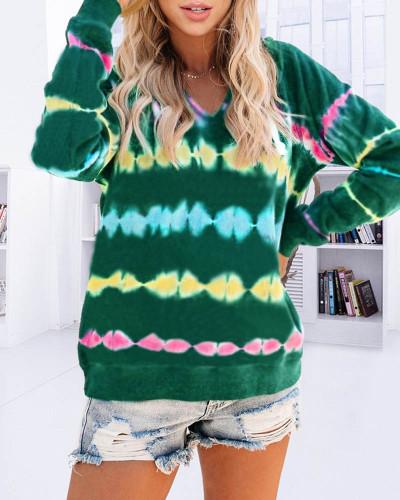 Green Tie-dye hooded sweater loose gradient color long-sleeved top