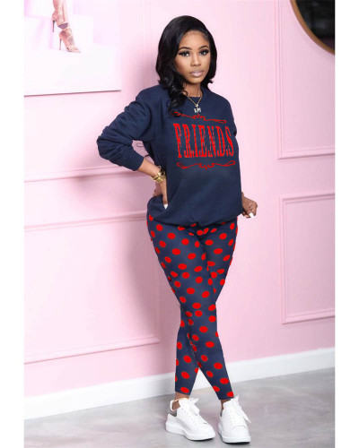 Red Tie-dot printed loose long-sleeved top and slim trousers two-piece suit