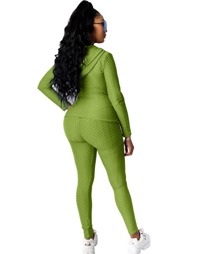 Army green Hooded zipper sweatshirt and leggings two-piece sports suit