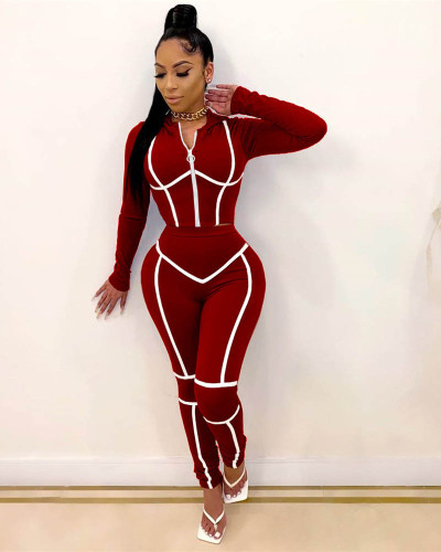 Claret Pure color hooded zipper pull strip long sleeve jacket trousers sports two-piece suit