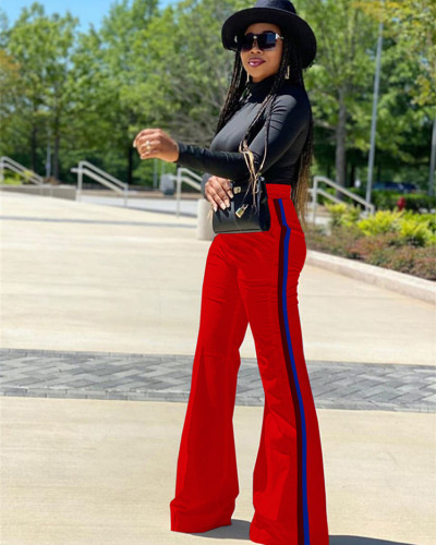 Red Patchwork solid color casual pants
