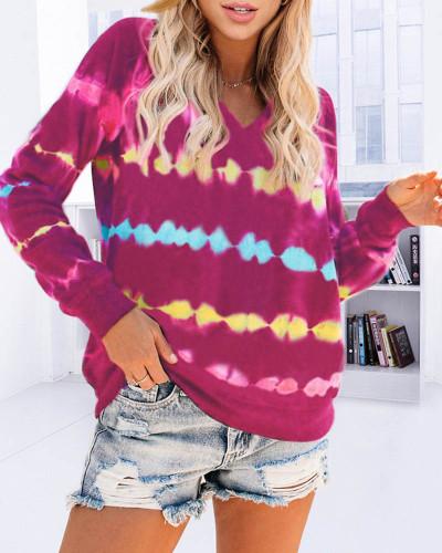 Rose red Tie-dye hooded sweater loose gradient color long-sleeved top