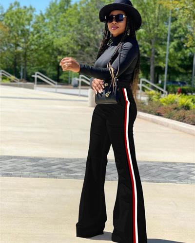 Black Patchwork solid color casual pants