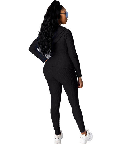 Black Hooded zipper sweatshirt and leggings two-piece sports suit