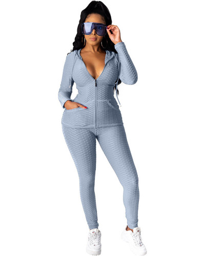 Gray Hooded zipper sweatshirt and leggings two-piece sports suit