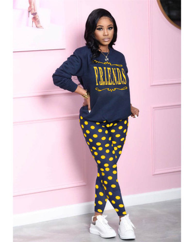 Yellow Tie-dot printed loose long-sleeved top and slim trousers two-piece suit