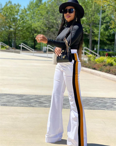 White Patchwork solid color casual pants