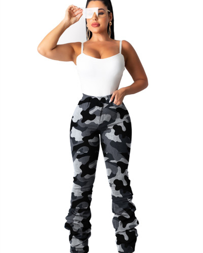 Camouflage Classic camouflage stretch pleated jeans