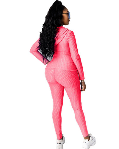 Pink Hooded zipper sweatshirt and leggings two-piece sports suit