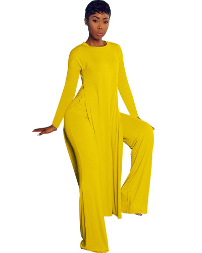 Yellow Two-piece sports suit