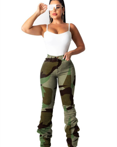 Green Classic camouflage stretch pleated jeans