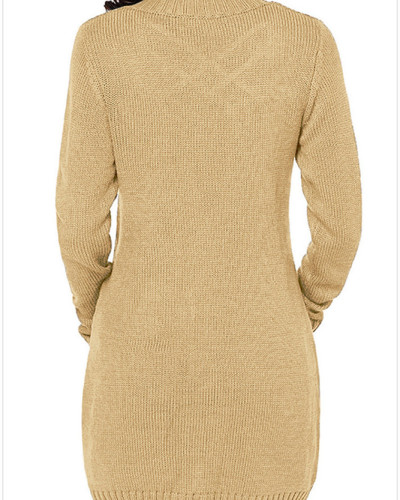 Yellow Long sleeve pocket knitted sweater