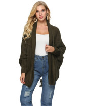 Dark green Knit sweater cardigan plus size women's multicolor coat