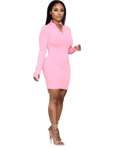 Pink Solid color long-sleeved pit striped hip dress