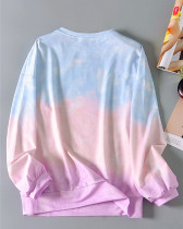Color Gradient loose round neck long sleeve top