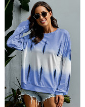 Light Blue Gradient loose round neck long sleeve top
