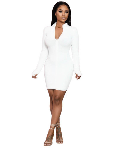 White Solid color long-sleeved pit striped hip dress