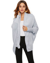 Light gray Knit sweater cardigan plus size women's multicolor coat